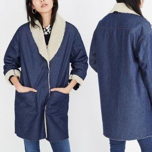 Madewell Sherpa-Bonded Denim Cocoon Coat Size S